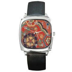 Vintage Chinese Brocade Square Metal Watch