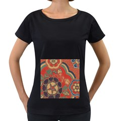 Vintage Chinese Brocade Women s Loose Fit T Shirt (black)