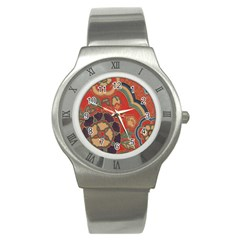 Vintage Chinese Brocade Stainless Steel Watch