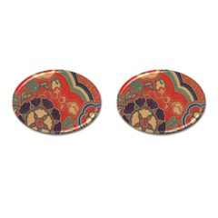 Vintage Chinese Brocade Cufflinks (oval)