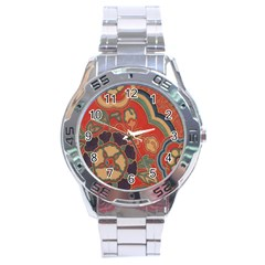 Vintage Chinese Brocade Stainless Steel Analogue Watch