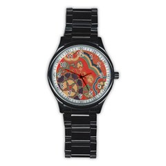 Vintage Chinese Brocade Stainless Steel Round Watch
