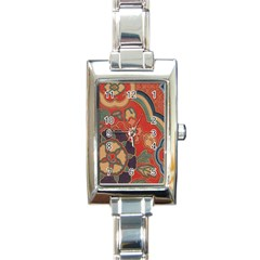 Vintage Chinese Brocade Rectangle Italian Charm Watch