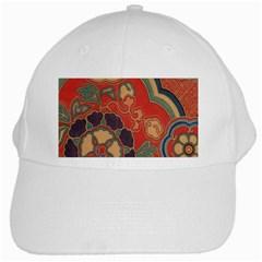 Vintage Chinese Brocade White Cap