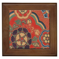 Vintage Chinese Brocade Framed Tiles