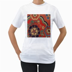 Vintage Chinese Brocade Women s T Shirt (white) (two Sided)