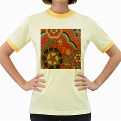 Vintage Chinese Brocade Women s Fitted Ringer T Shirts