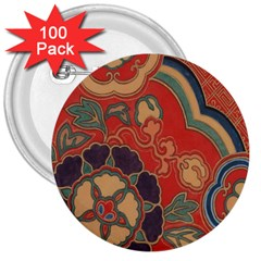 Vintage Chinese Brocade 3  Buttons (100 Pack)