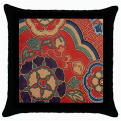Vintage Chinese Brocade Throw Pillow Case (Black)