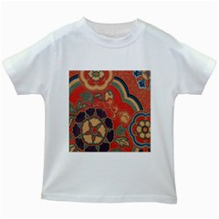 Vintage Chinese Brocade Kids White T-Shirts