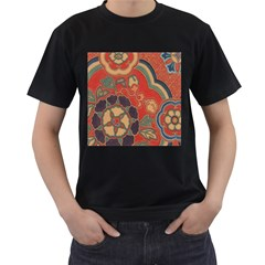 Vintage Chinese Brocade Men s T Shirt (black) (two Sided)