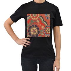 Vintage Chinese Brocade Women s T-Shirt (Black) (Two Sided)