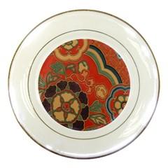 Vintage Chinese Brocade Porcelain Plates