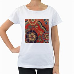 Vintage Chinese Brocade Women s Loose Fit T Shirt (white)