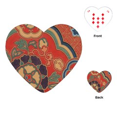 Vintage Chinese Brocade Playing Cards (Heart)