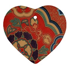 Vintage Chinese Brocade Heart Ornament (two Sides)