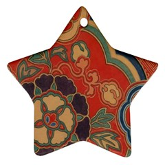 Vintage Chinese Brocade Star Ornament (Two Sides)