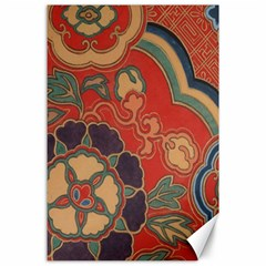 Vintage Chinese Brocade Canvas 24  X 36