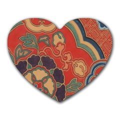 Vintage Chinese Brocade Heart Mousepads