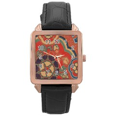 Vintage Chinese Brocade Rose Gold Leather Watch