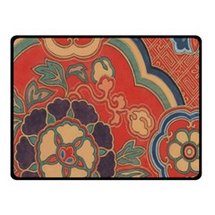 Vintage Chinese Brocade Double Sided Fleece Blanket (small)