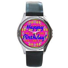 Happy Birthday! Round Metal Watch