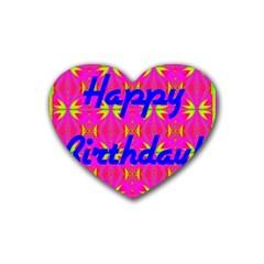 Happy Birthday! Rubber Coaster (heart)