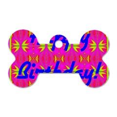 Happy Birthday! Dog Tag Bone (One Side)