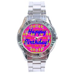 Happy Birthday! Stainless Steel Analogue Watch