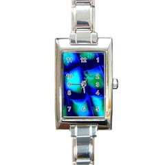 Blue Scales Pattern Background Rectangle Italian Charm Watch