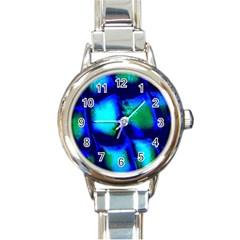 Blue Scales Pattern Background Round Italian Charm Watch