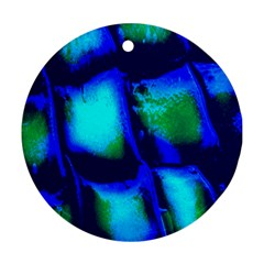 Blue Scales Pattern Background Ornament (round)