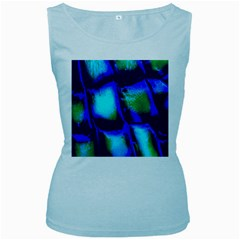 Blue Scales Pattern Background Women s Baby Blue Tank Top