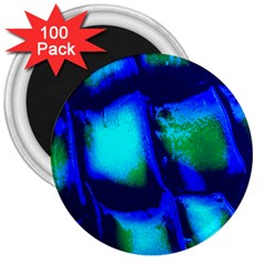 Blue Scales Pattern Background 3  Magnets (100 Pack)