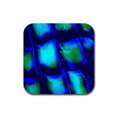 Blue Scales Pattern Background Rubber Coaster (square)