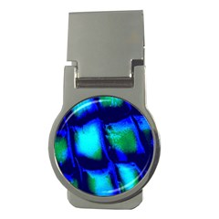 Blue Scales Pattern Background Money Clips (round)
