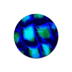 Blue Scales Pattern Background Rubber Coaster (round)