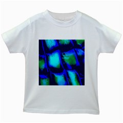 Blue Scales Pattern Background Kids White T Shirts
