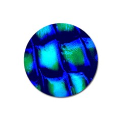 Blue Scales Pattern Background Magnet 3  (round)
