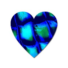 Blue Scales Pattern Background Heart Magnet