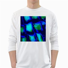 Blue Scales Pattern Background White Long Sleeve T Shirts
