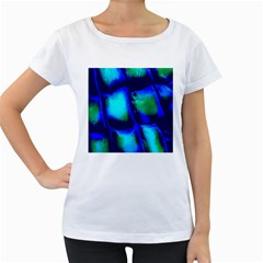Blue Scales Pattern Background Women s Loose Fit T Shirt (white)