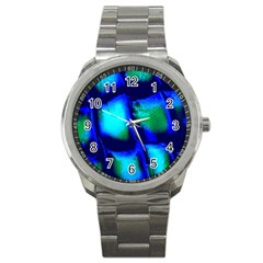 Blue Scales Pattern Background Sport Metal Watch