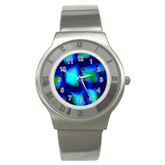 Blue Scales Pattern Background Stainless Steel Watch