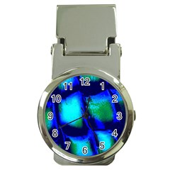 Blue Scales Pattern Background Money Clip Watches