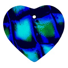 Blue Scales Pattern Background Heart Ornament (two Sides)