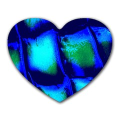 Blue Scales Pattern Background Heart Mousepads