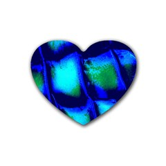 Blue Scales Pattern Background Rubber Coaster (heart)