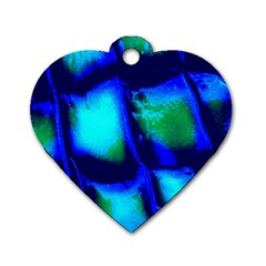 Blue Scales Pattern Background Dog Tag Heart (One Side)