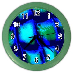 Blue Scales Pattern Background Color Wall Clocks